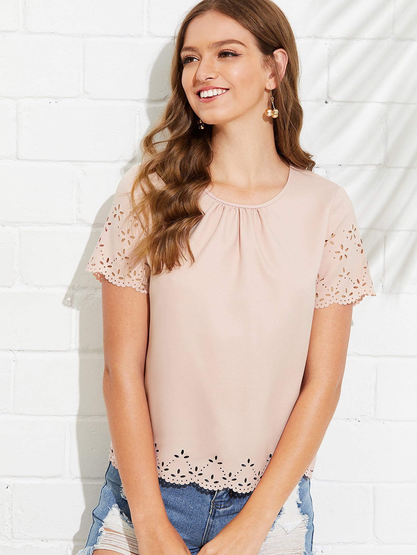 Gathered Neck Scallop Laser Cut Top gathered neck floral sleeveless top