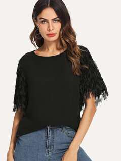 Feather Embellished Tunic Top