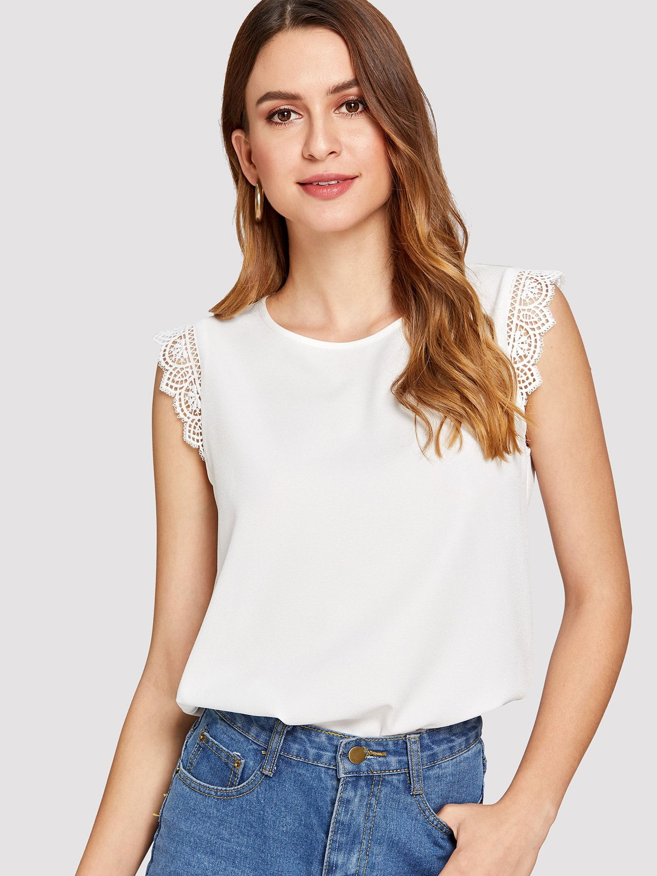 Lace Trim Shell Top lace trim solid top