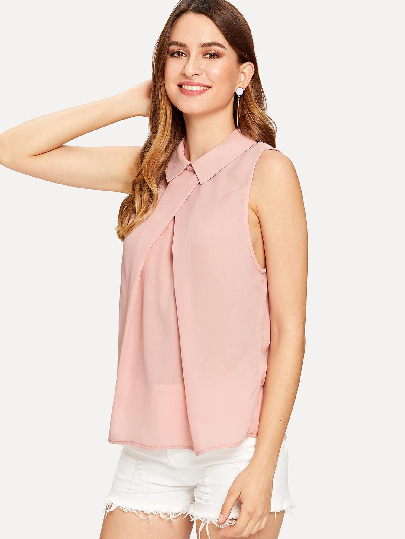 Fold Pleat Detail Sleeveless Top scallop v neck pleat detail top