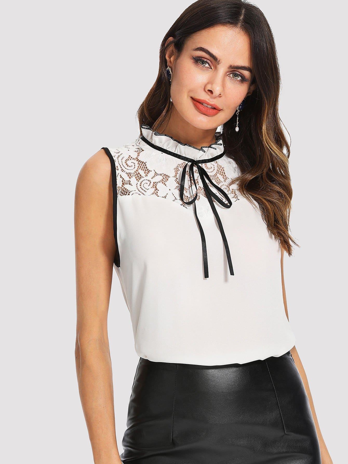 Frilled Collar Lace Yoke Sleeveless Top frilled collar lace yoke sleeveless top