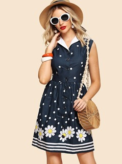 Contrast Collar Button Through Fit & Flare Dress