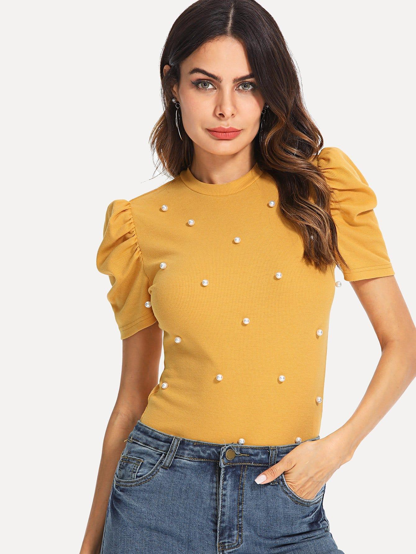 Pearl Beaded Rib Knit Puff Sleeve Top bell sleeve rib knit dress