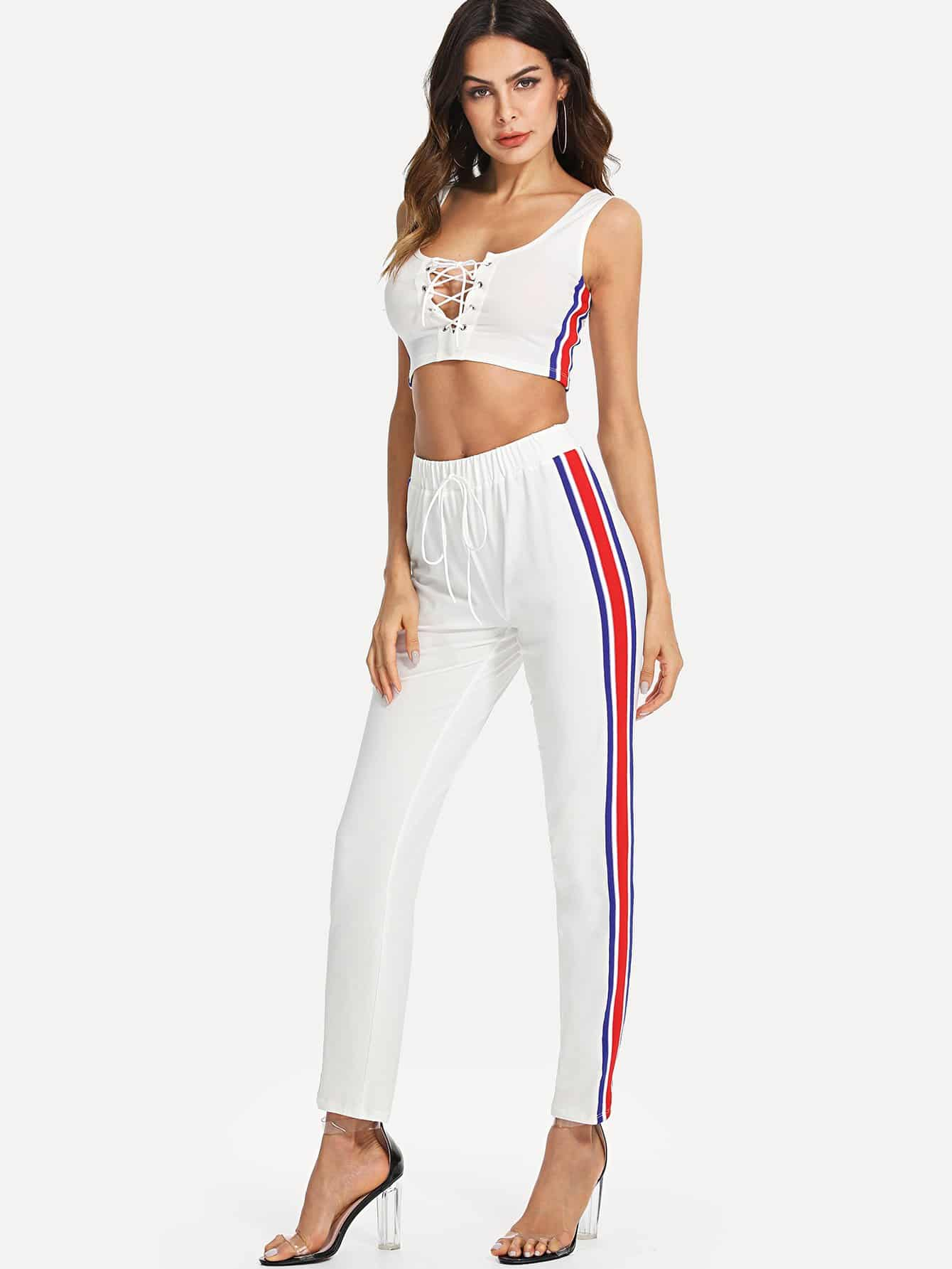 Lace Up Striped Tank Top & Pants Co-Ord цена