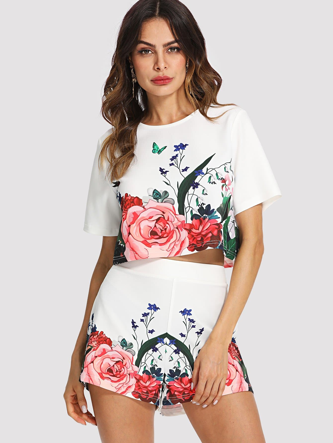 Floral Crop Top & Shorts Co-Ord jungle print crop tank top and pleated shorts co ord