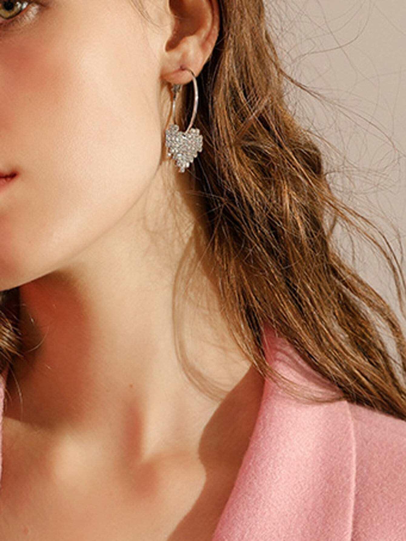 Rhinestone Heart Decorated Hoop Earrings pair of rhinestone heart hoop earrings