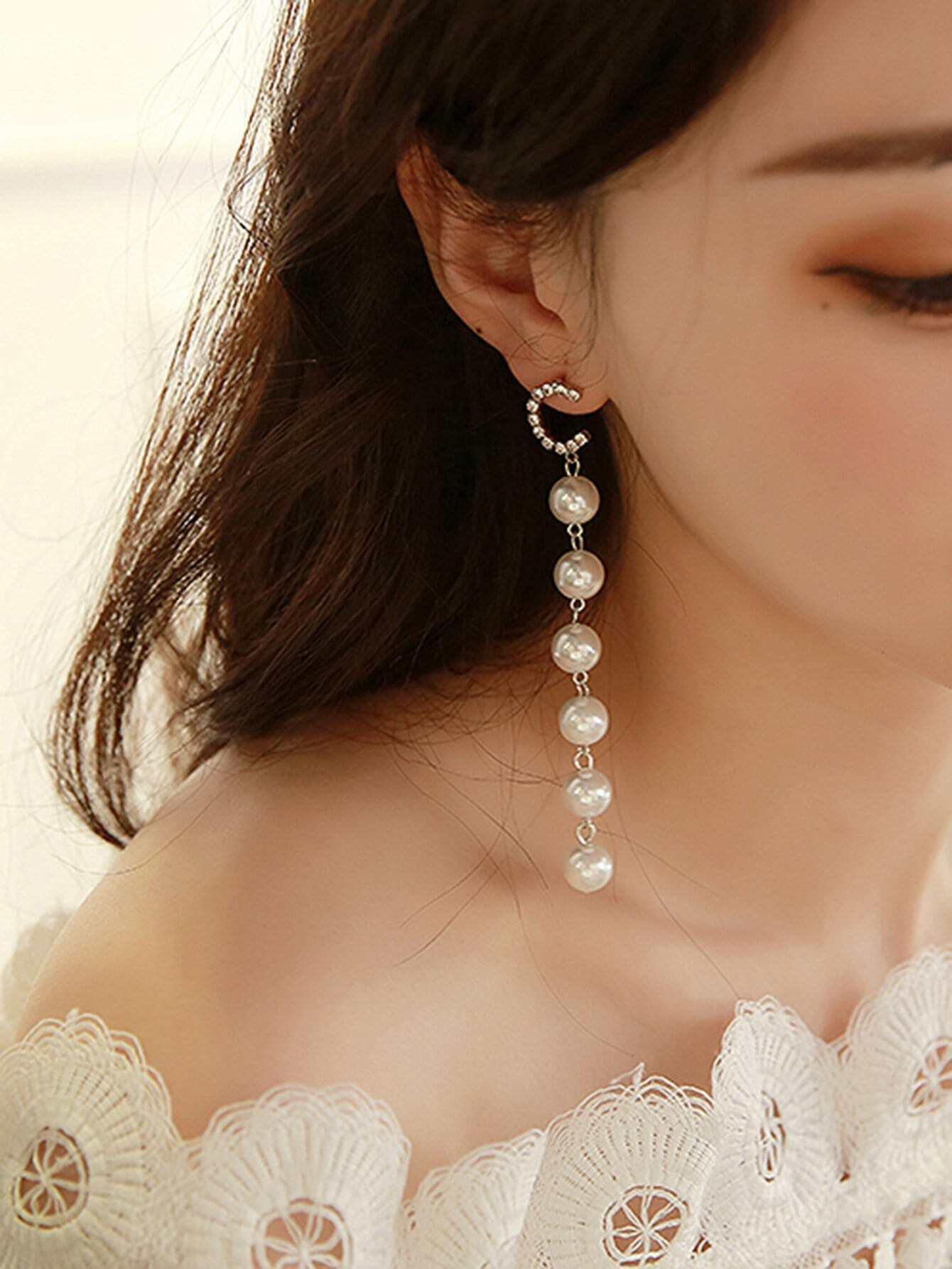 Letter Detail Faux Pearl Drop Earrings hollowed circle faux pearl drop earrings