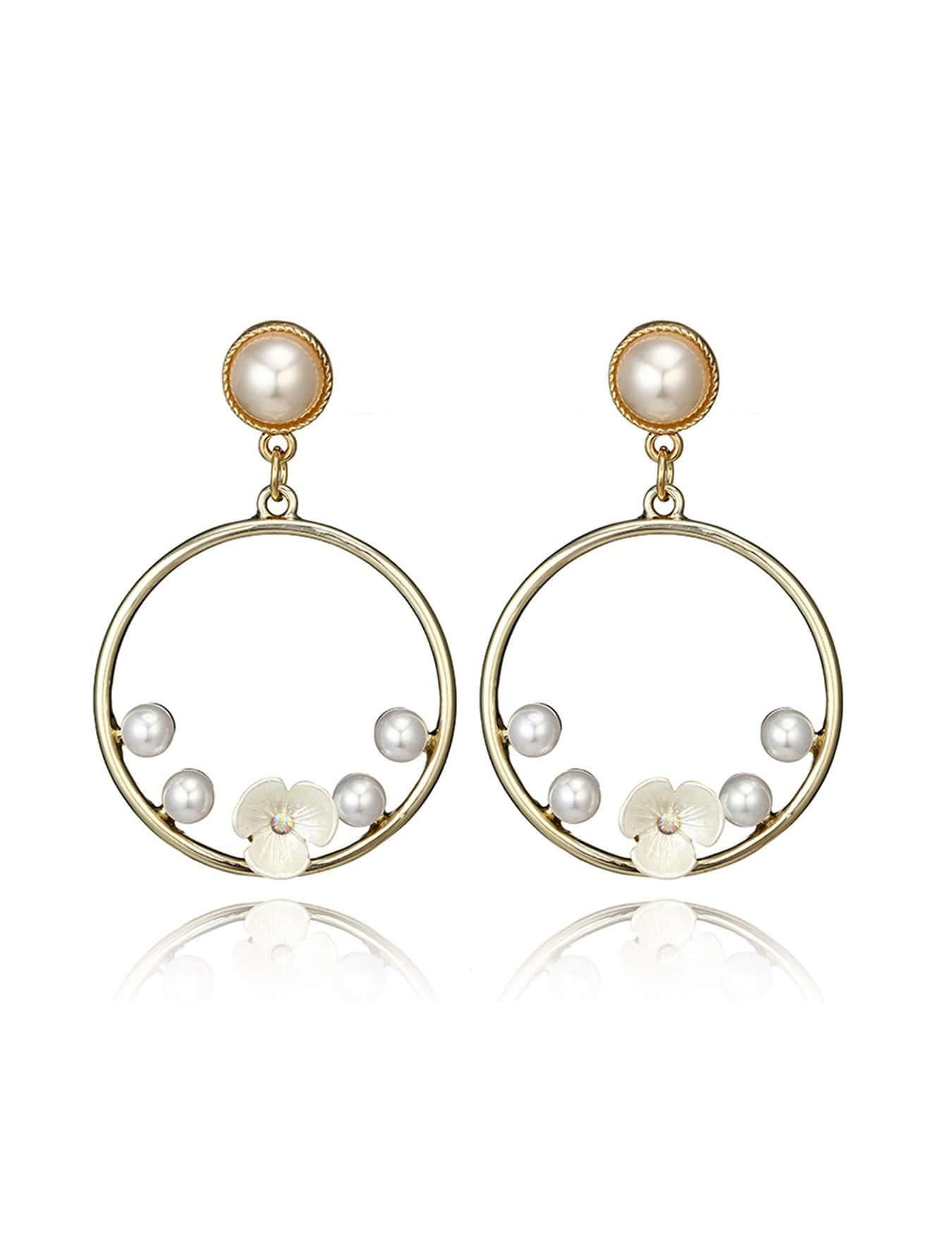 Faux Pearl Detail Hoop Drop Earrings hollowed circle faux pearl drop earrings