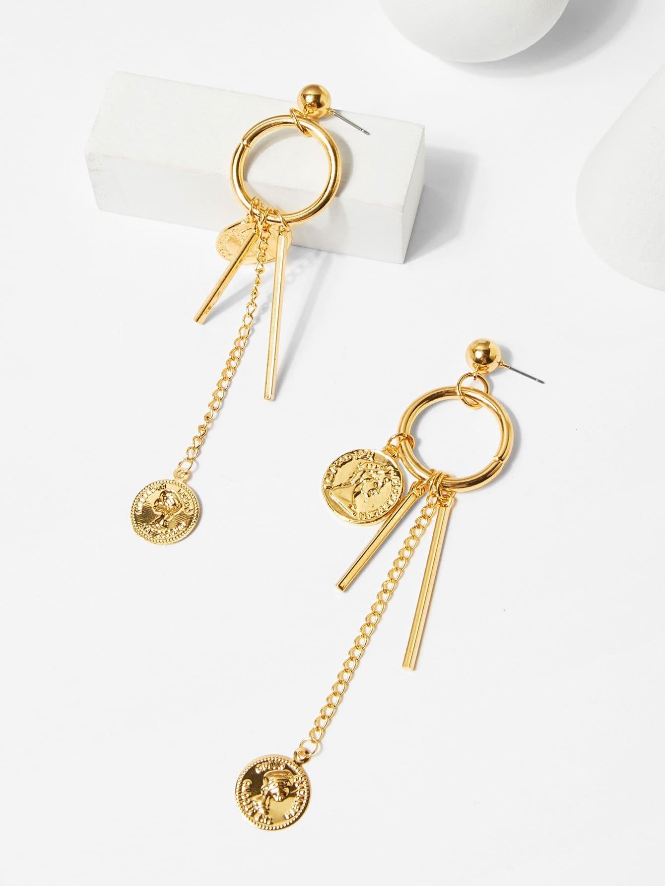 Coin & Bar Detail Hoop Drop Earrings silver plated bar dangle drop earrings
