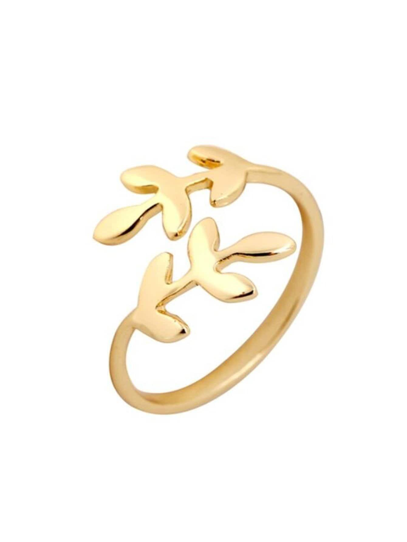Leaf Shaped Cuff Ring filigree infinity polished cuff ring
