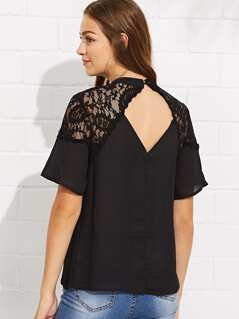 Cutout Neck Lace Shoulder Top