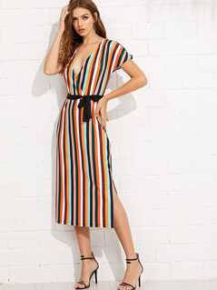 Wrap Front Belted Striped Dress