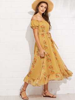 Flounce Sleeve Tassel Tie Waist Floral Bardot Dress