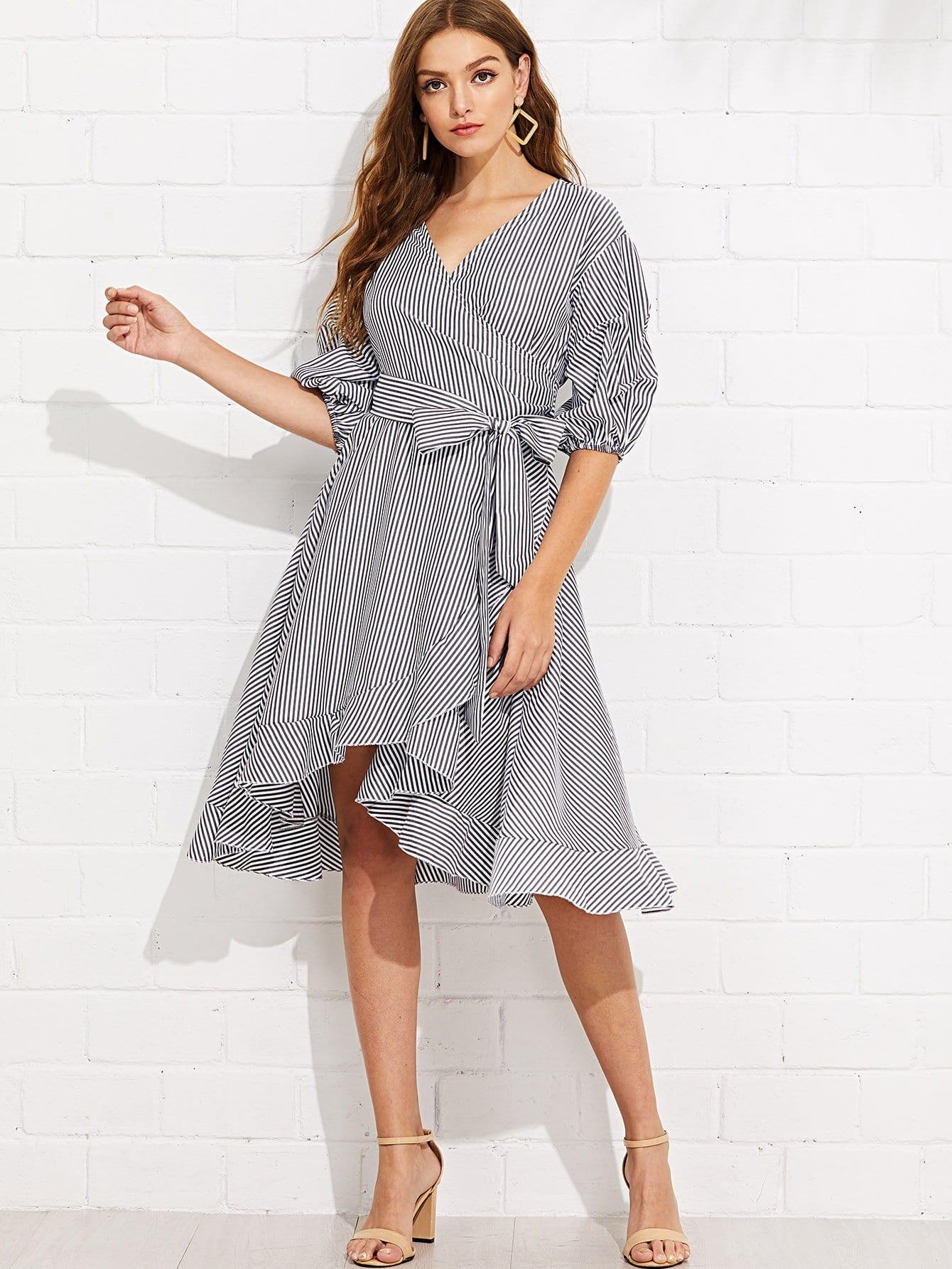 Купить Платье с запахом и полосками и собранными рукавами, Luiza, SheIn