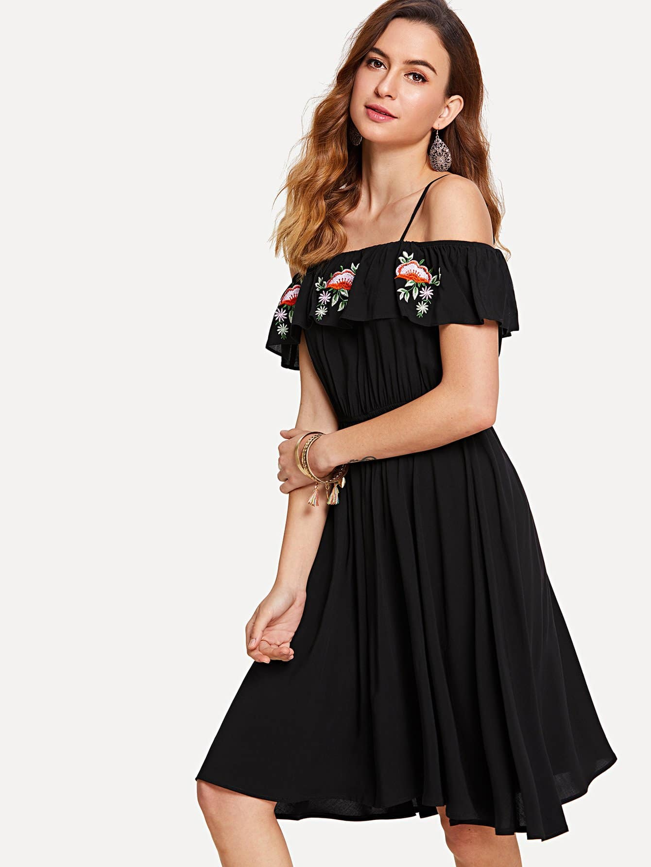 Embroidered Ruffle Layered Cami Dress ethnic embroidered black cami dress for women