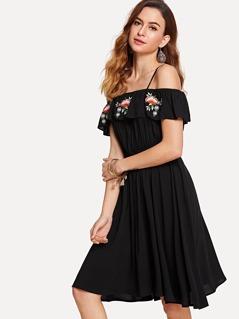 Embroidered Ruffle Layered Cami Dress