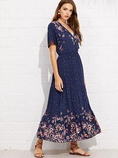 Button Front Ruffle Hem Floral Dress
