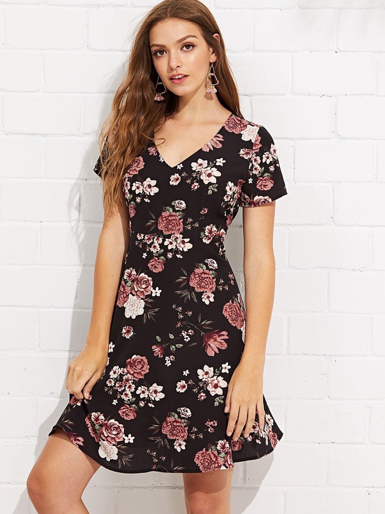 Купить Платье туника в цветочек и короткими рукавами, Luiza, SheIn
