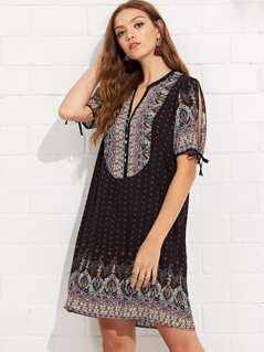 Knot Cuff Geo Print Tunic Dress