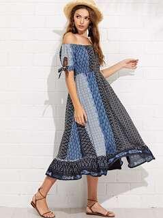 Geo Print Knot Cuff Off Shoulder Dress