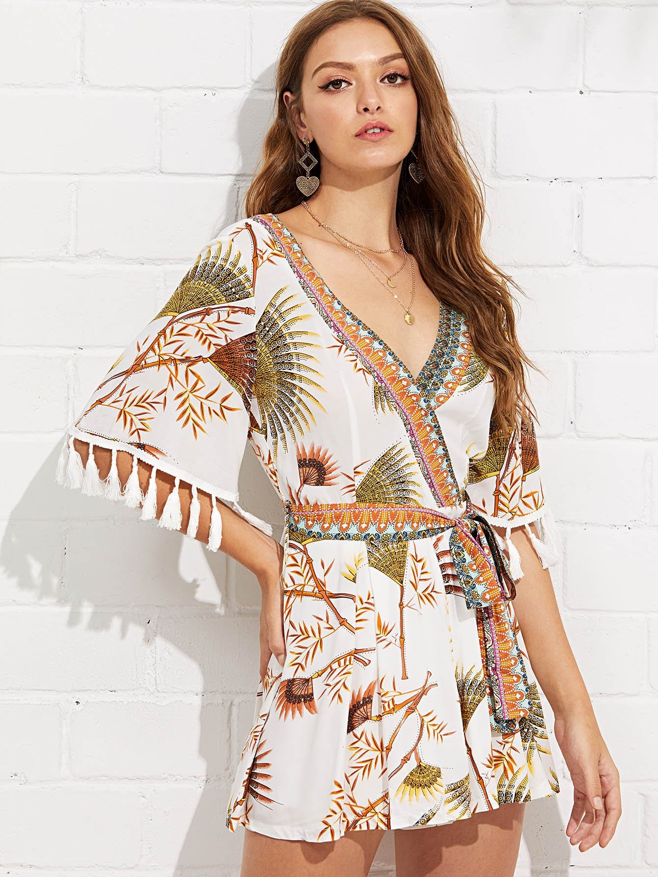 Mixed Print Tassel Detail Self Belted Wrap Romper mixed print belted wrap jumpsuit