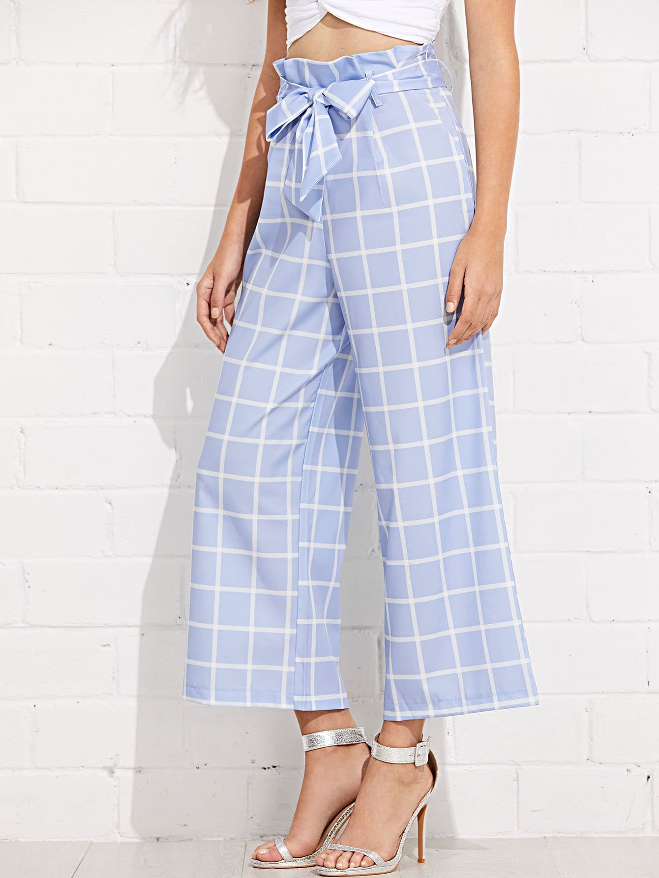 Self Belted Grid Palazzo Pants grid carrot pants