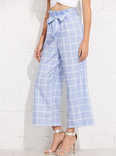 Self Belted Grid Palazzo Pants
