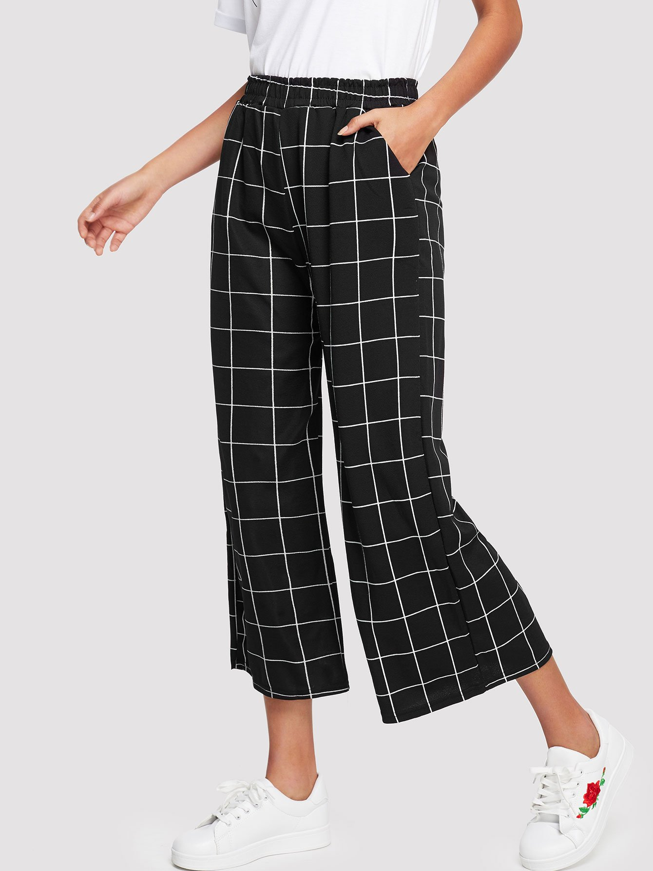 Elastic Waist Grid Pants grid carrot pants