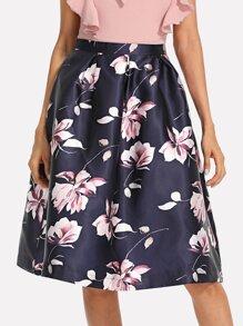 Flower Print Volume Skirt
