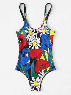 Scoop Neck Botanical Print Swimsuit