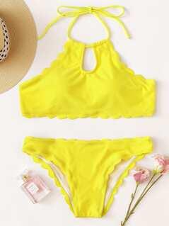 Solid Scalloped Trim Halter Bikini Set