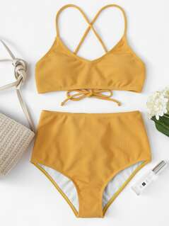 Rib Knit Top With High Waist Bikini Set
