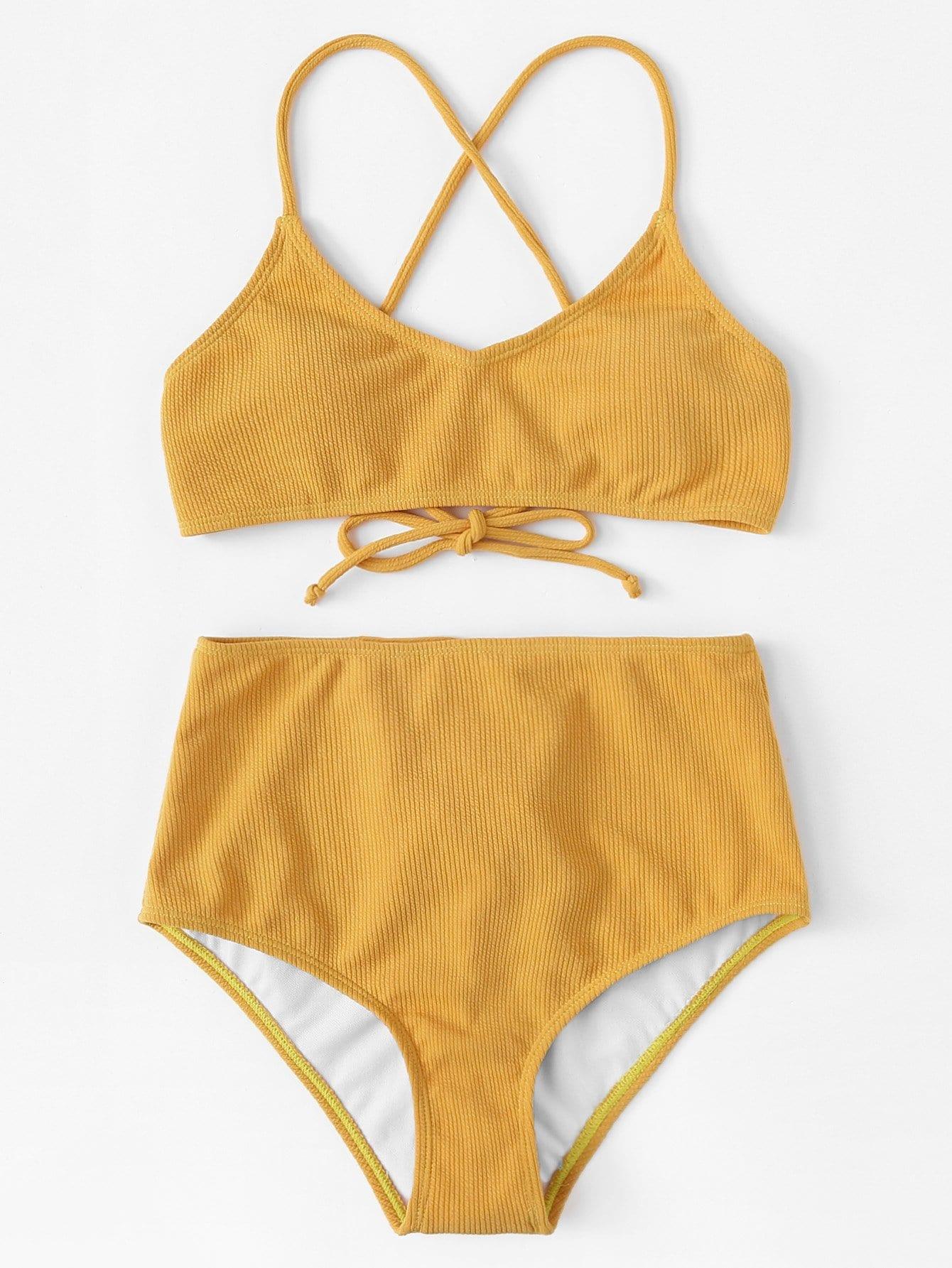 Solid Rib Knit Bikini Set rib knit tights