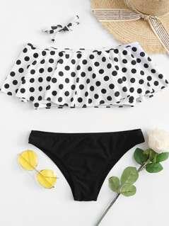 Polka Dot Flounce Top Bikini Set