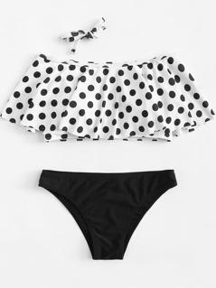 Polka Dot Flounce Bikini Set