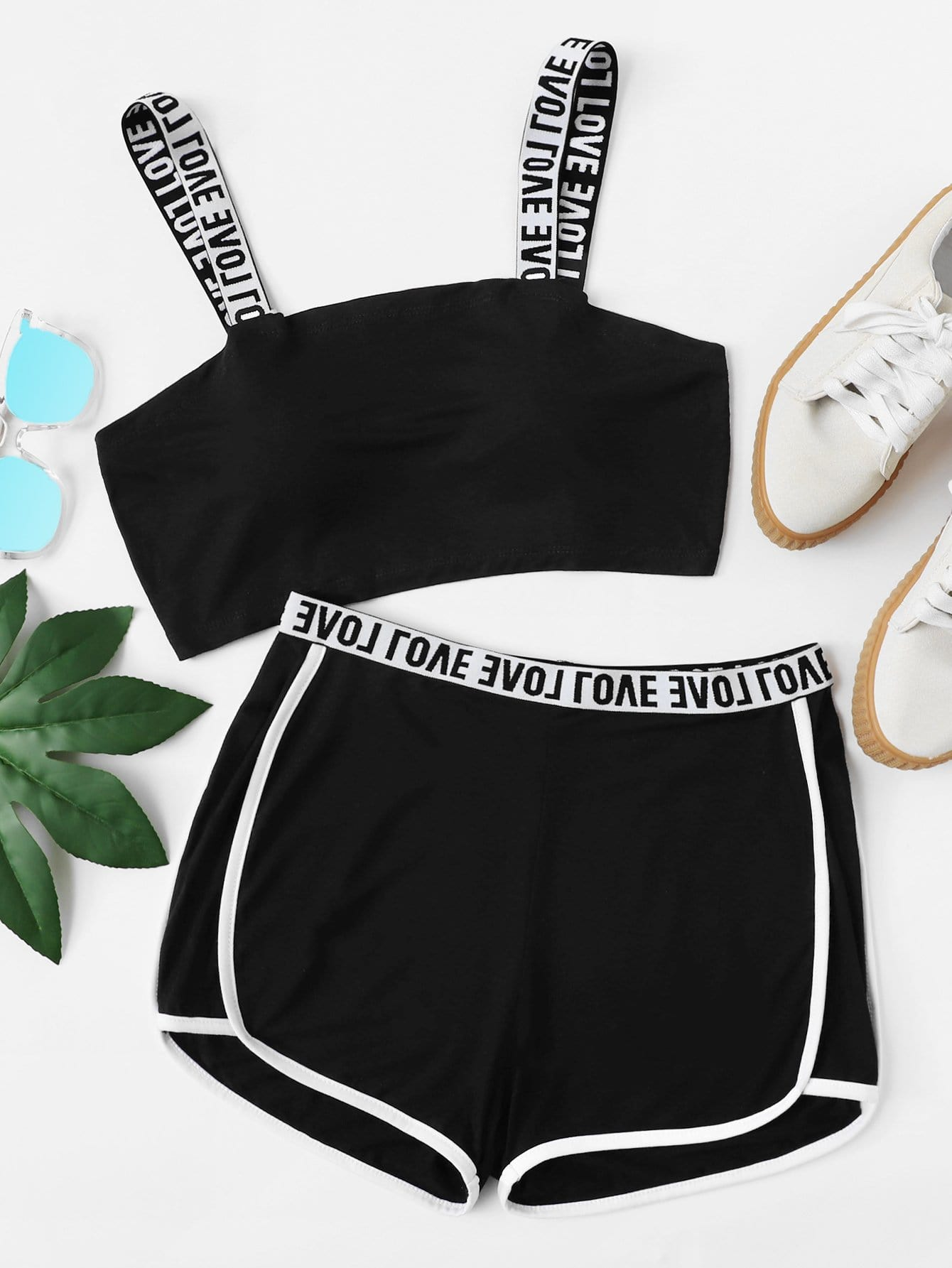 Two Tone Lettering Sports Bra & Shorts Set two tone drop shoulder sweatshirt