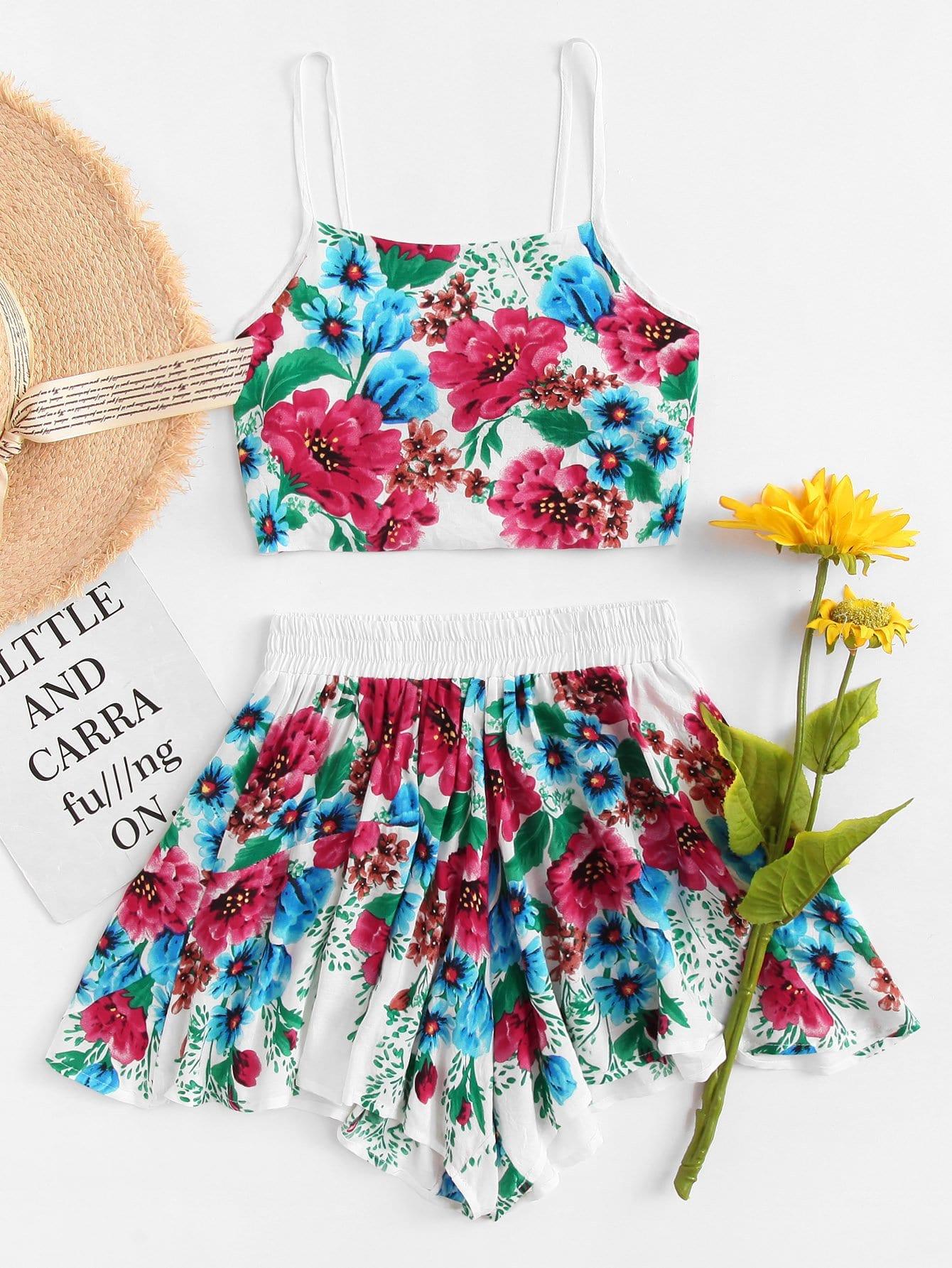 Купить Цветочная печать Cami Top & Wide Short Shorts Set, null, SheIn