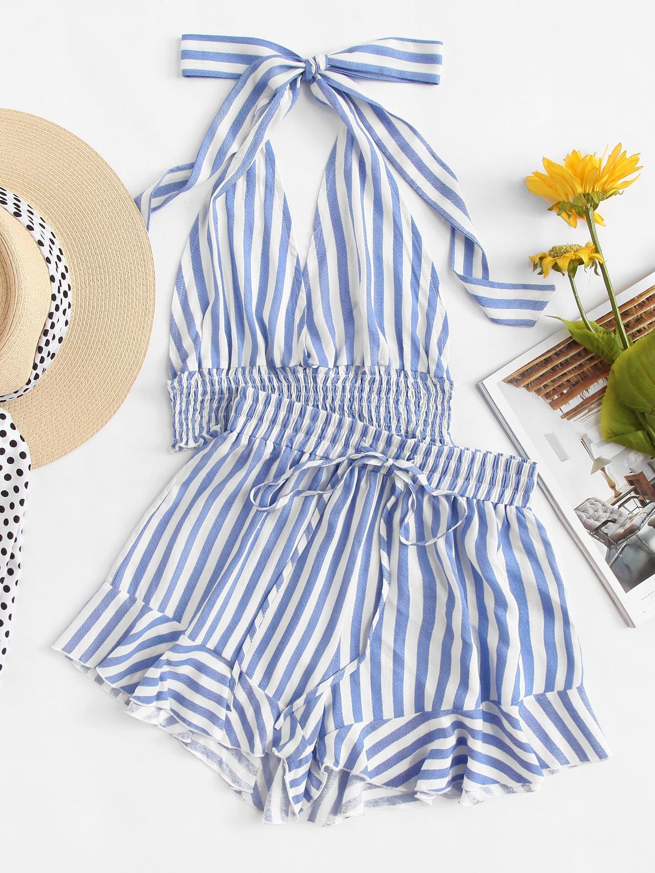 Striped Halter Neck Top & Ruffle Shorts Set coffee tube top halter bikin set