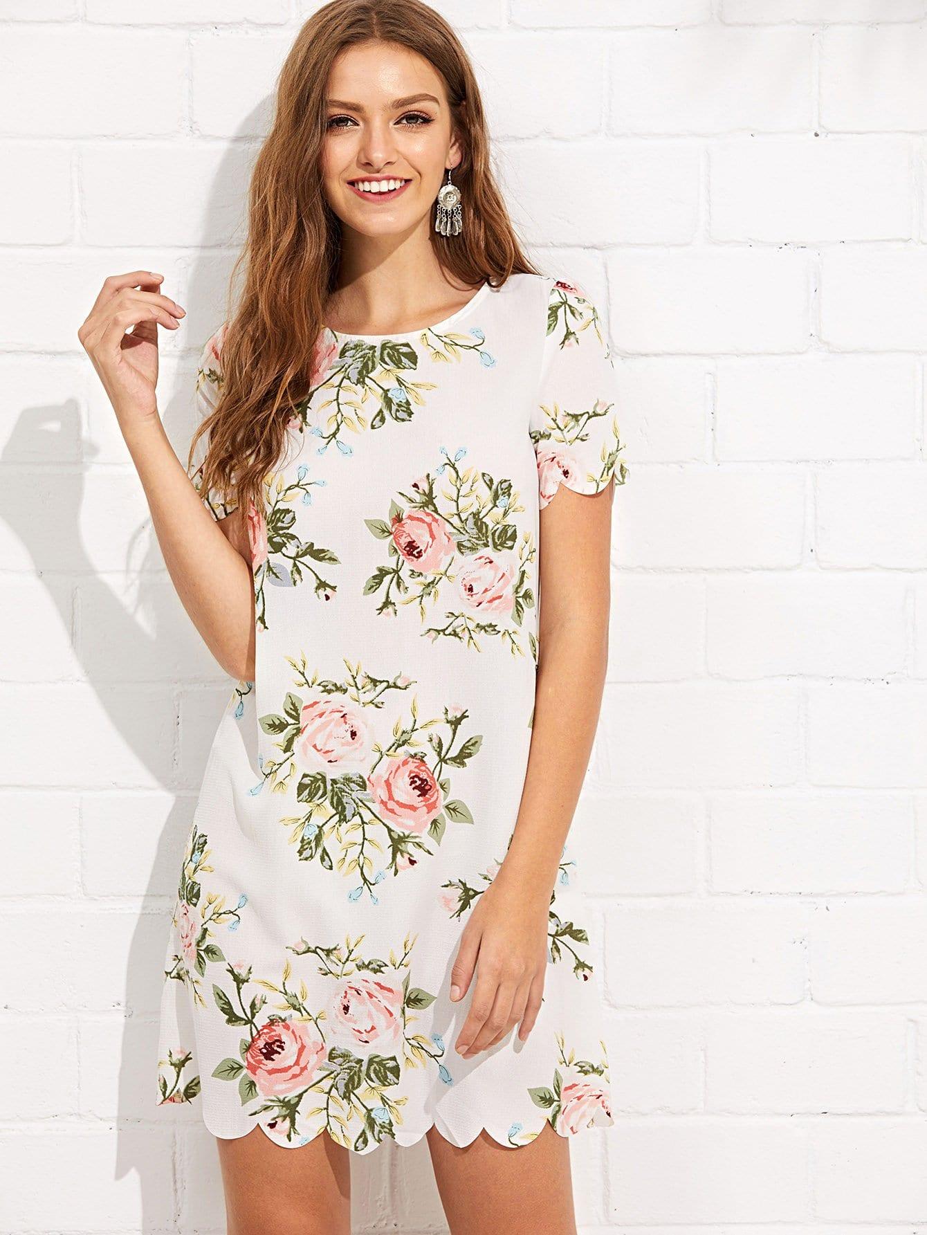 Scalloped Edge Botanical Print Dress scalloped edge botanical print dress
