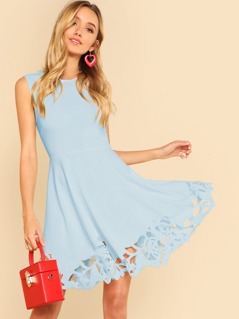 Cut Out Detail Fit And Flared Sleeveless Dress