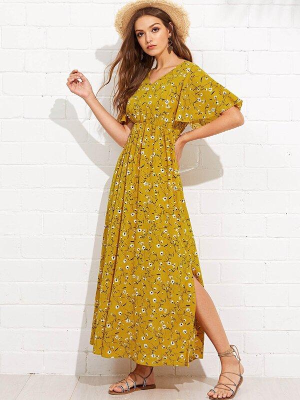 Flutter Sleeve Slit Side Daisy Print Dress by Shein