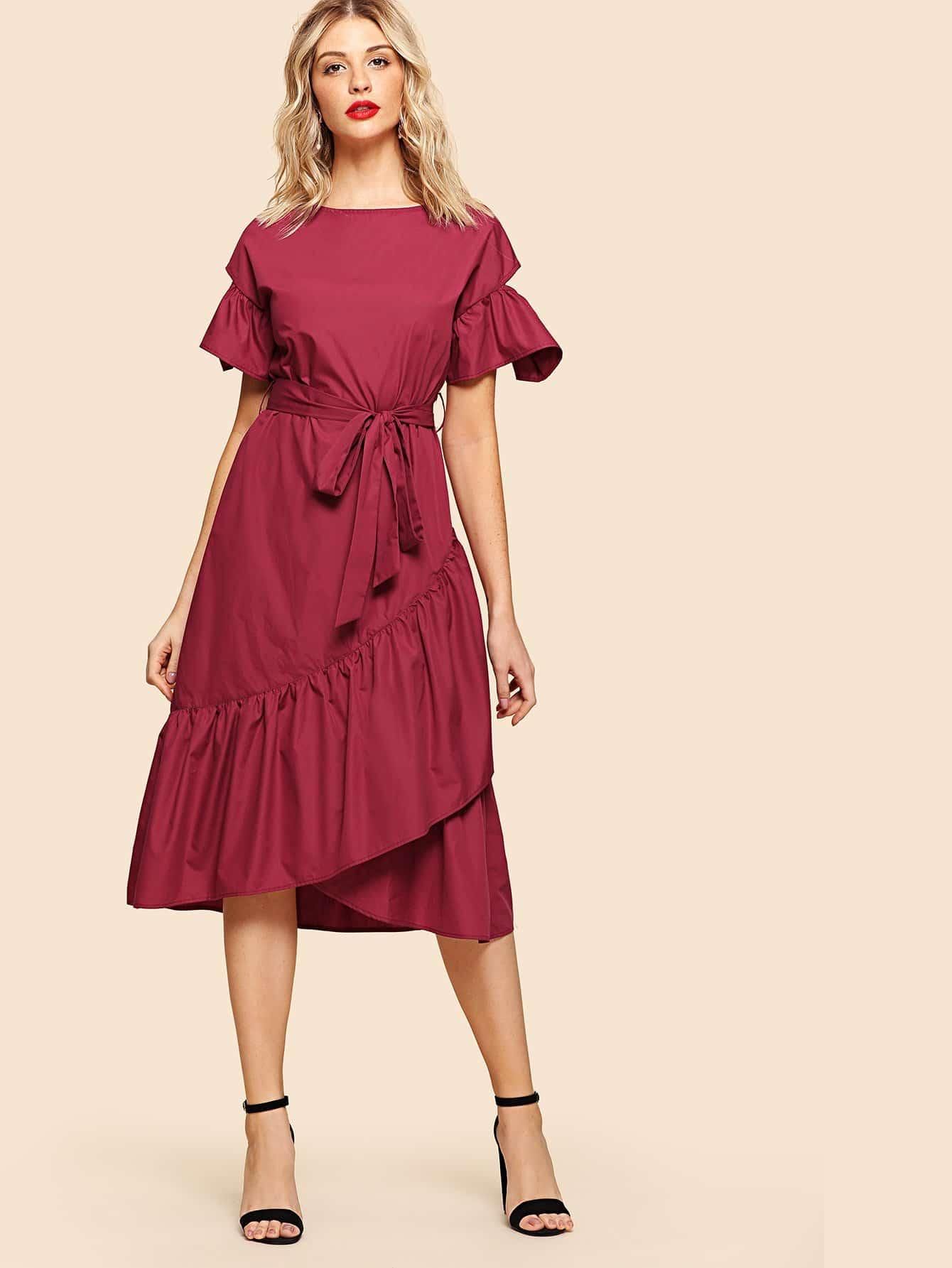 Flounce Sleeve Overlap Ruffle Hem Dress ruffle trim overlap hem dress