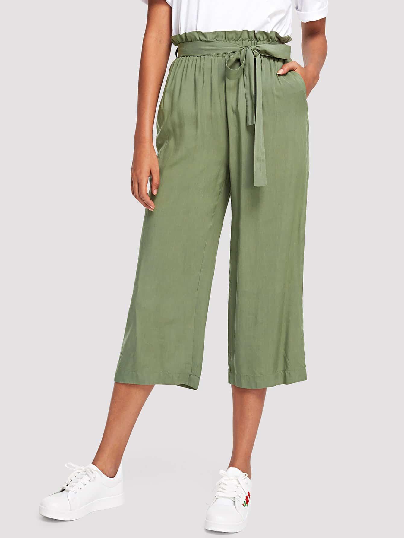 Belted Frilled Waist Palazzo Leg Pants self belted skirt palazzo pants