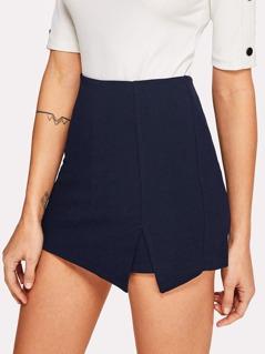 Split Front Solid Skirt Shorts