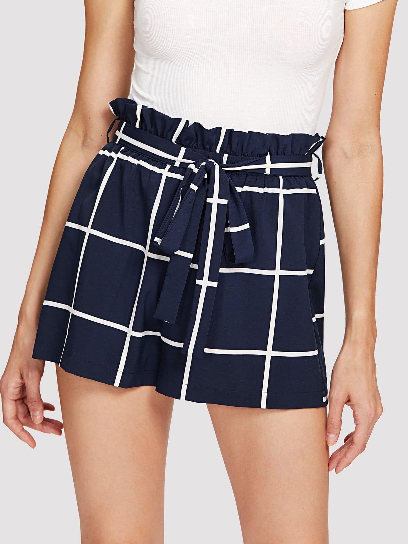 Ruffle Waist Self Belt Grid Shorts ruffle waist self belt grid shorts