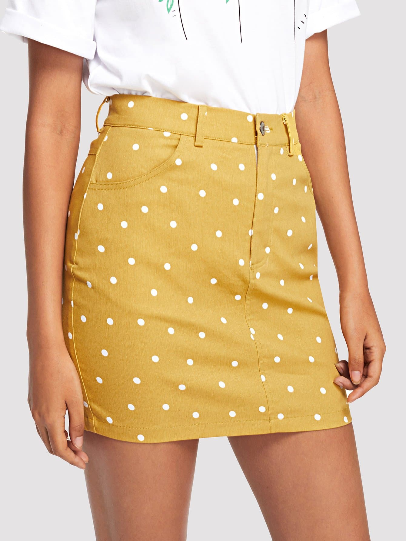 High Waist Pocket Patched Dot Skirt картридж cactus cs ce261a для hp сolor laserjet cp4025 cp4525 cm4540mfp голубой 11000стр