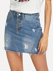 Button Up Bleach Wash Ripped Denim Skirt