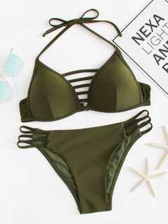Plus Halter Top With Ladder Cut Out Bikini Set