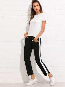 Basic Top & Stripe Contrast Drawstring Waist Pants