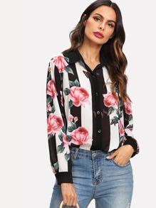 Block Stripe Floral Print Shirt